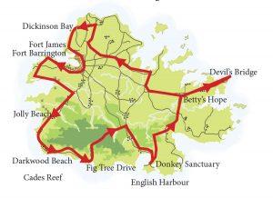 Antigua Island Custom Tours with Capital Car Rental Map
