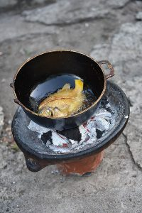 Traditional way of Frying Fish in Antigua